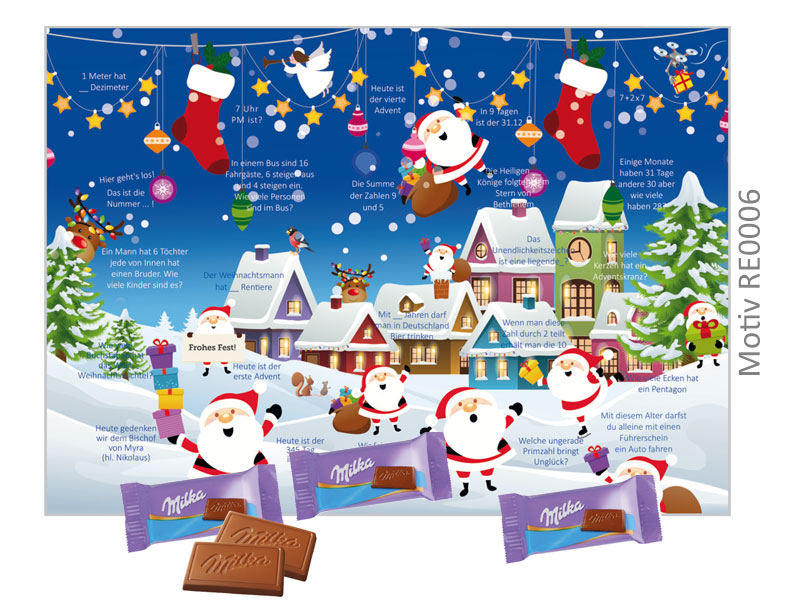 Milka Weihnachtskalender.Milka Ratsel Adventskalender Tisch