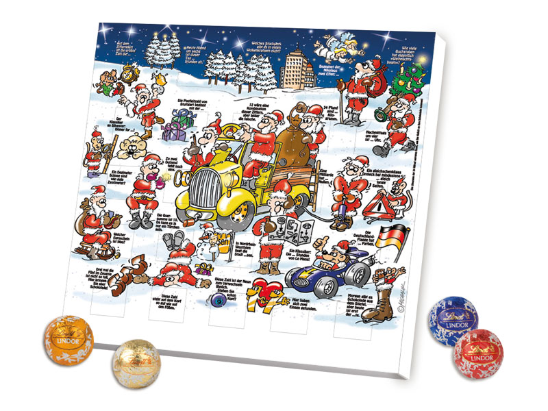 Lindor Weihnachtskalender.Rätsel Tisch Adventskalender Lindt Minis