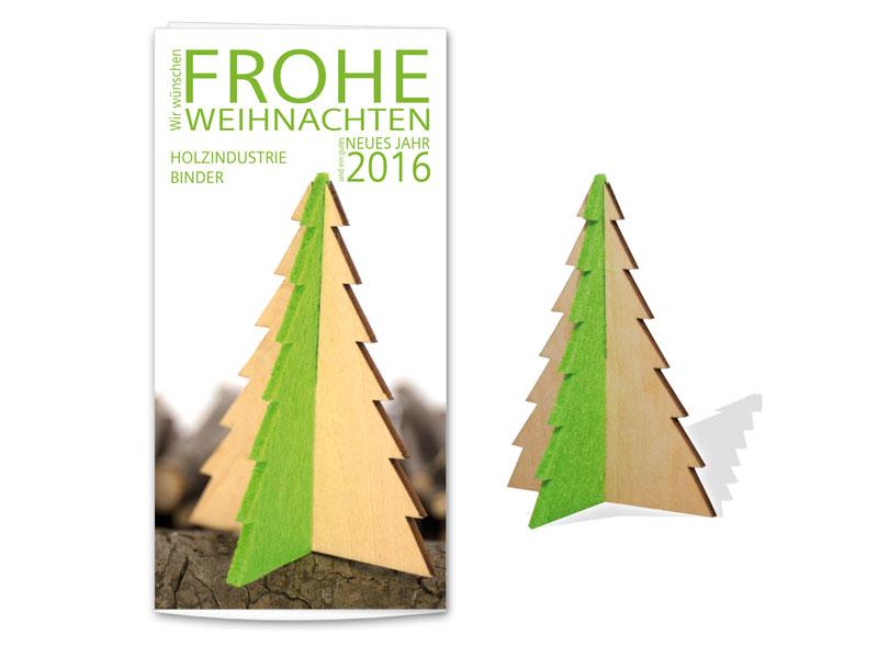 Holz Weihnachtskarten.Steckfigurenkarte Tannenbaum