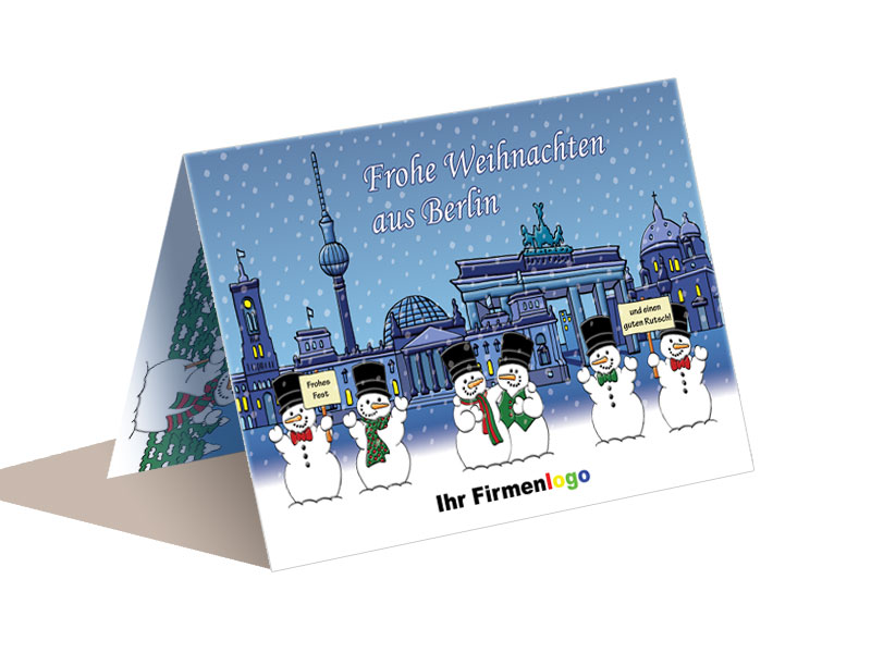 Weihnachtskarten Berlin.Weihnachtskarte Berlin Mit Schneemännern