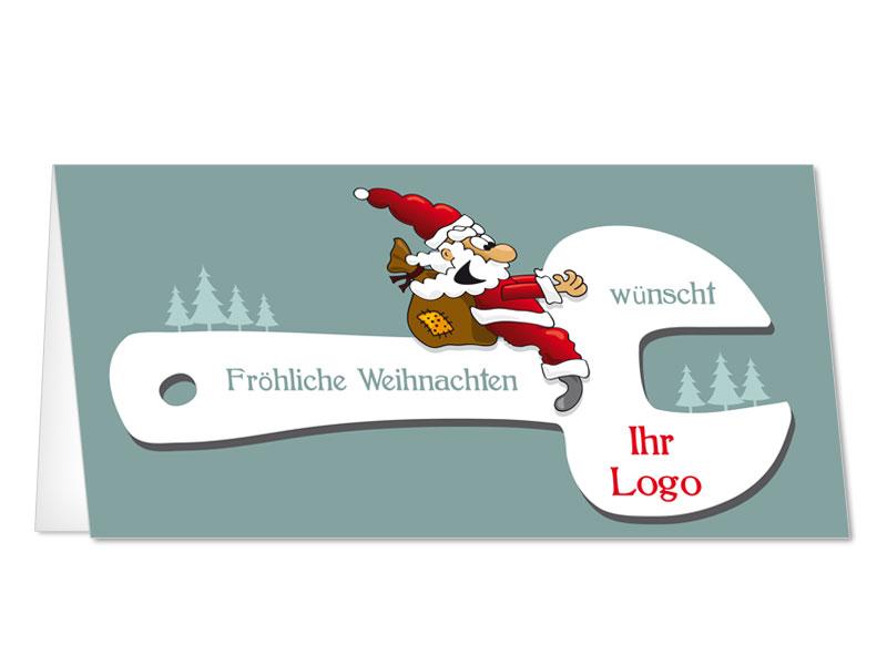 Bilder Weihnachtskarten.Weihnachtskarten Weihnachtsmann Fliegt Auf Maulschluessel