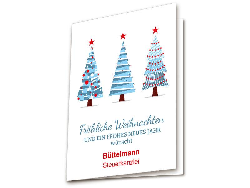 Bilder Weihnachtskarten.Weihnachtskarten Drei Tannenbäume Blau